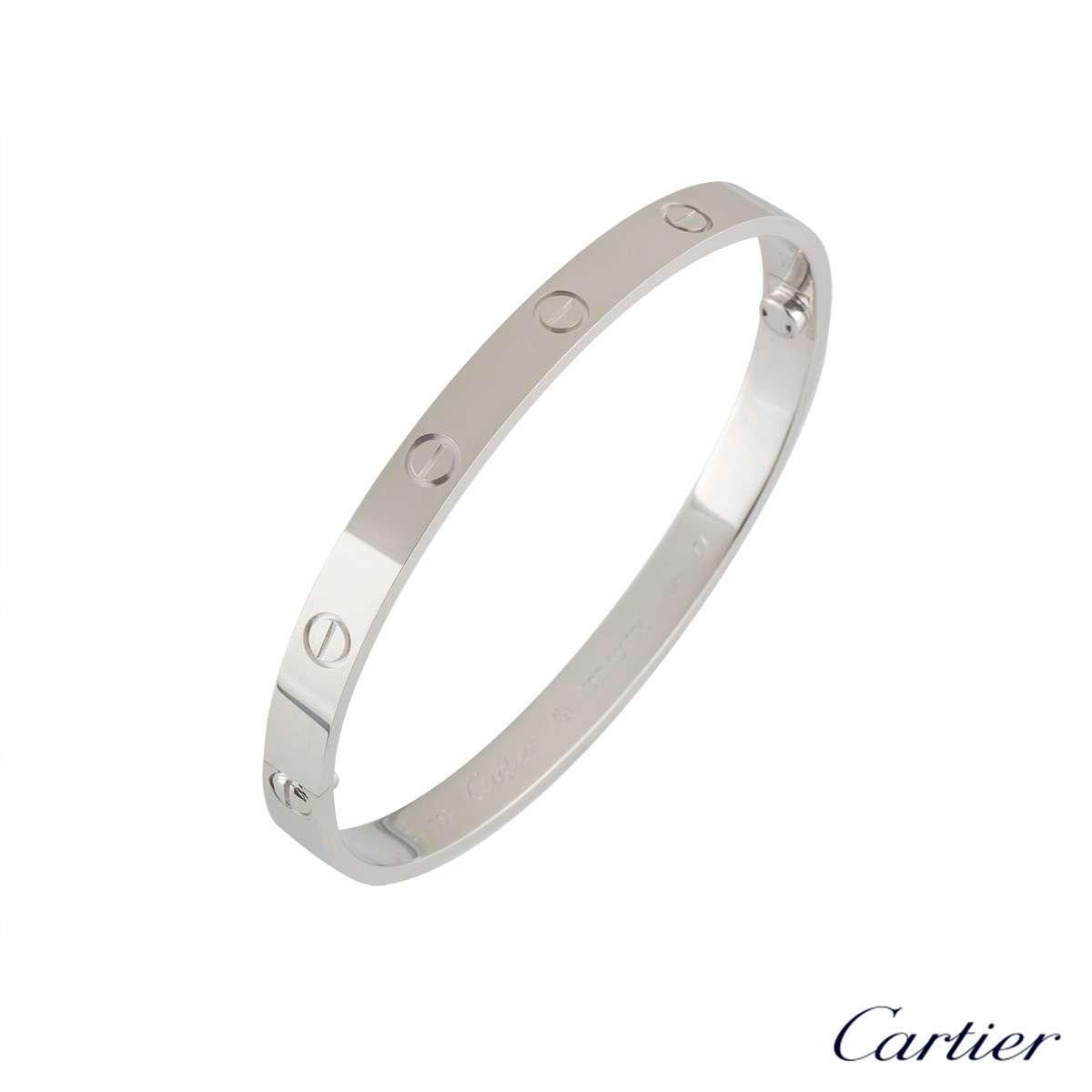 Cartier White Gold PlainLove Bracelet Size 16 B6035416